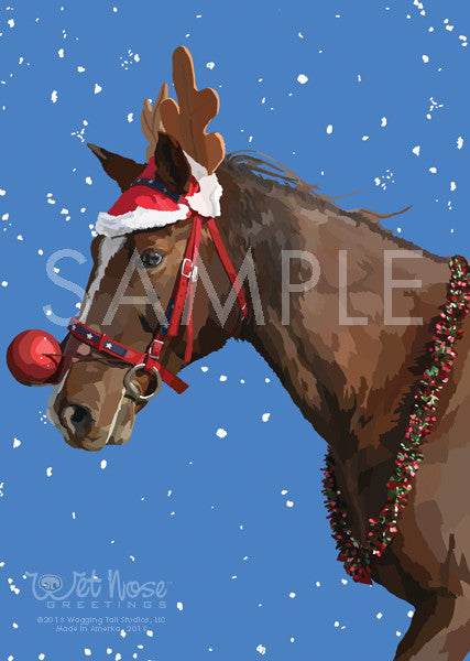 Christmas Horse Decorations.Horse With Antlers And Decorations With Snow Christmas Note Card Whisper