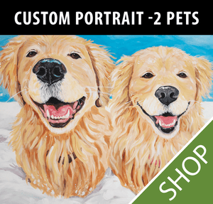Custom Painted Portrait <br><strong>2 Pets</strong>