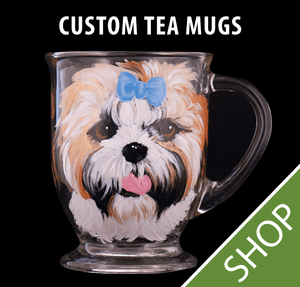 Custom Painted Glass Tea/Coffee Mug- 16 oz.