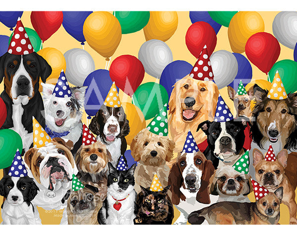 Dogs Group Birthday on Balloon Greeting Card