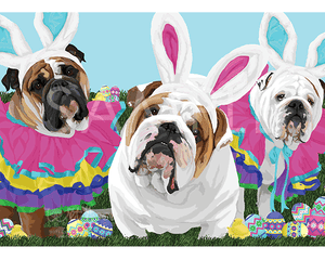English Bulldogs with Easter Ears on Grass Greeting Card (Harry and Olive and Harper)