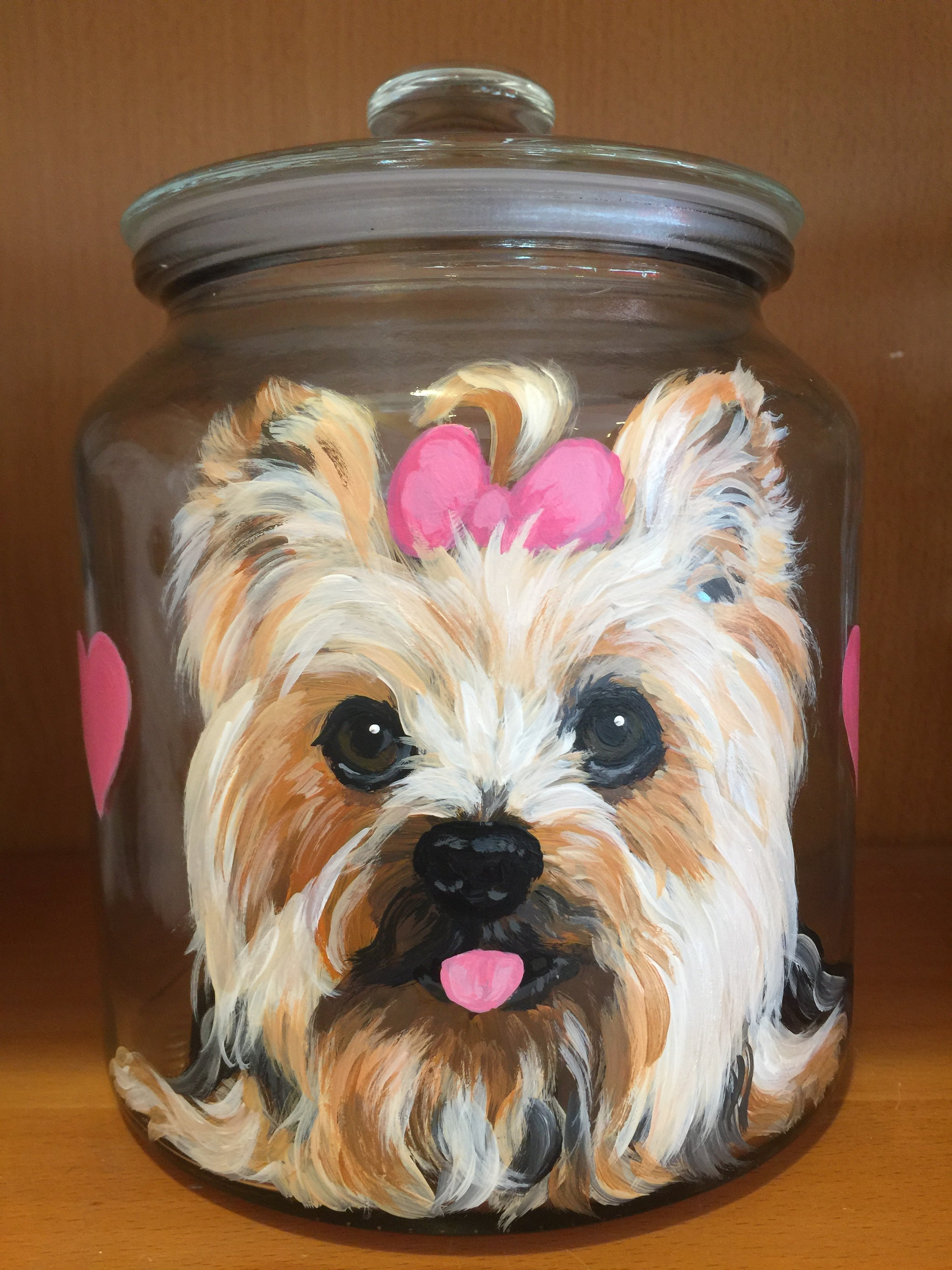 Custom Treat Jar Logo Pet Person Painted Dog Lover Glass Candy Jar Cookie  Jar Hand Painted Portrait Personalized Hand Birthday