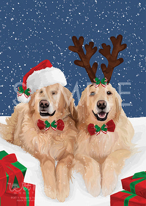 Golden Retrievers Christmas Greeting Card (Jake and Addie)