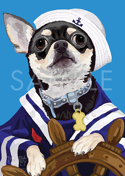 Chihuahua in sailer outfit on Blue Greeting Card (Jamie Sailer)