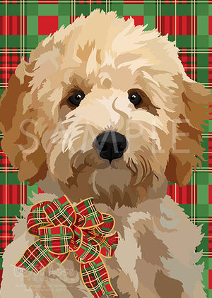 Goldendoodle Puppy on Red and Green Pattern Greeting Card (Magnolia)
