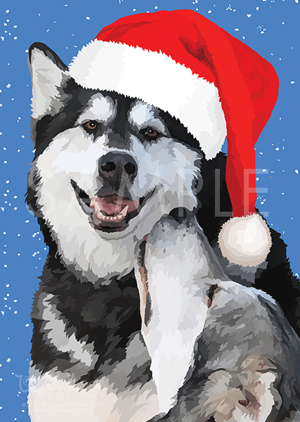Alaskan Malamutes on Snow with Hats Greeting Card (Maya and Sweet Pete)