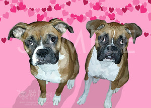 Boxers Greeting Card (Roxy and Lilly) Valentine's Day