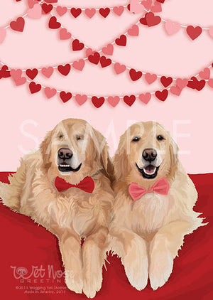 Golden Retrievers Valentine's Day Greeting Card (Jake and Addie)