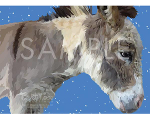 Donkey with Snow Christmas Note Card (Don Quixote)