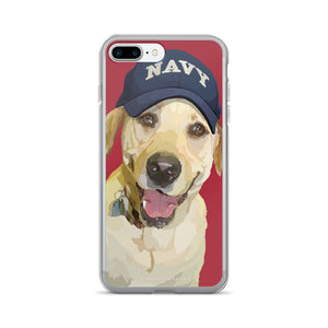 Yellow Lab - Lady Liberty in Navy Hat - iPhone 7/7 Plus Case
