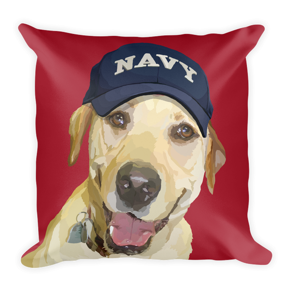 Yellow Lab with Navy Hat - Lady Liberty - Square Pillow