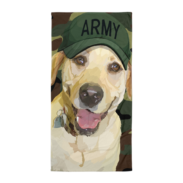 Lady Liberty the Yellow Lab with Navy Army - Towel