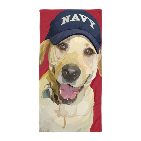 Lady Liberty the Yellow Lab with Army Hat - Towel