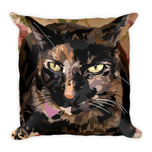 Tortoiseshell Cat - Nutmeg on Blanket - Square Pillow