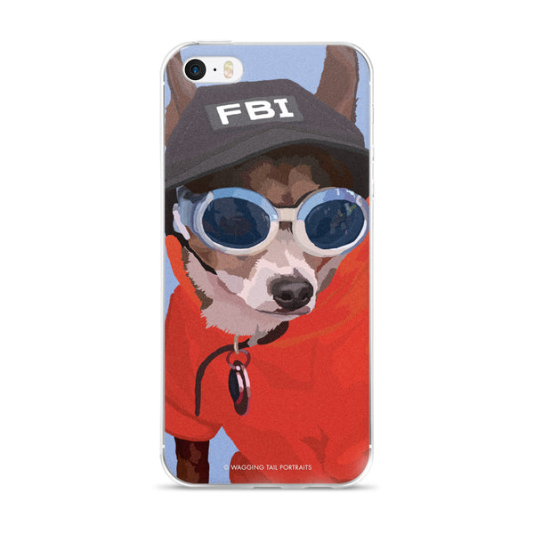 Peabody the Chihuahua Short Hair with FBI Hat - iPhone 5/5s/Se, 6/6s Plus Case