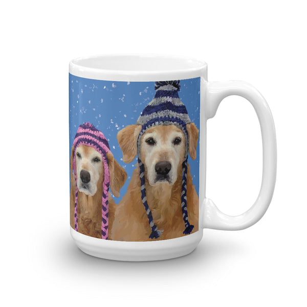 Chloe & Forrest the Golden Retrievers in the Snow - Mug made in the USA