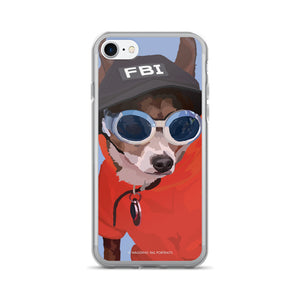 Peabody the Chihuahua Short Hair with FBI Hat - iPhone 7/7 Plus Case