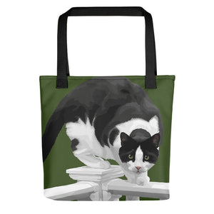 Boo the Cat on Porch Fence - Tote bag