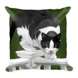 Boo the Cat on Porch Fence - Square Pillow