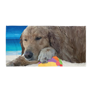 Dune the Golden Retriever Relaxing on the Beach - Towel