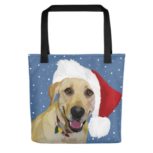 Yellow Lab - Lady Liberty in Santa Hat - Tote bag
