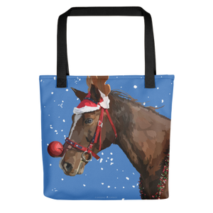 Christmas Horse in Reindeer Costume Tote bag