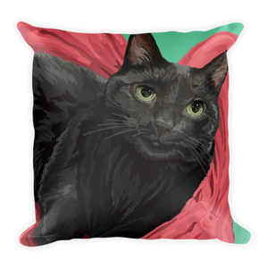 Horton the Cat on Blanket - Square Pillow
