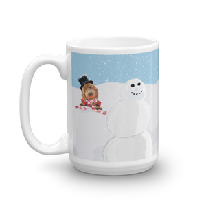 Bear in the Snow with Snowman Mug