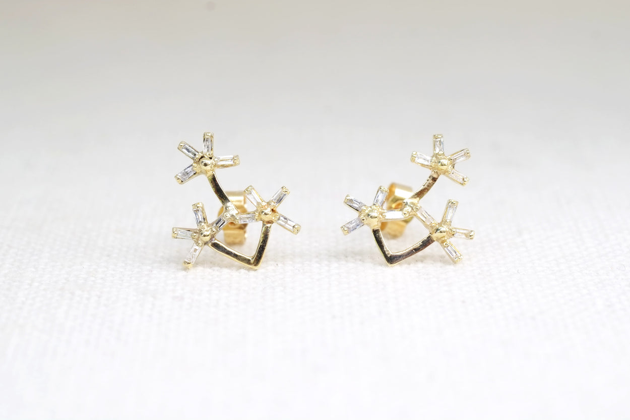 Dandelion Trio Baguette Diamond Earrings 18kt Gold
