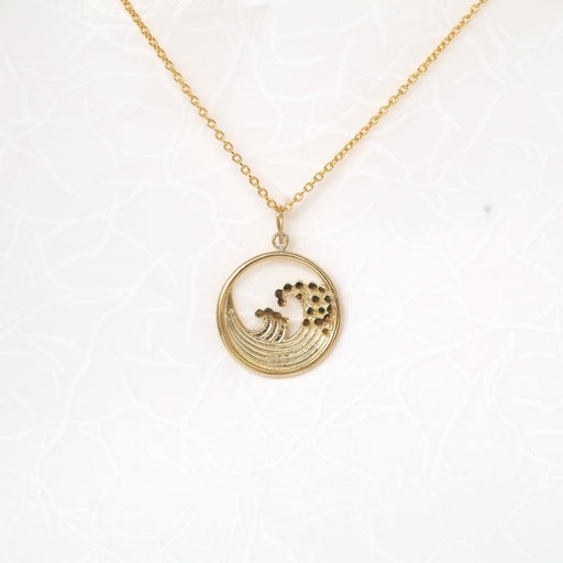 Summer Motif (Great Hokusai Wave) 18kt Gold Necklace