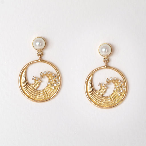 Summer (Great Hokusai Wave) Diamond Earrings