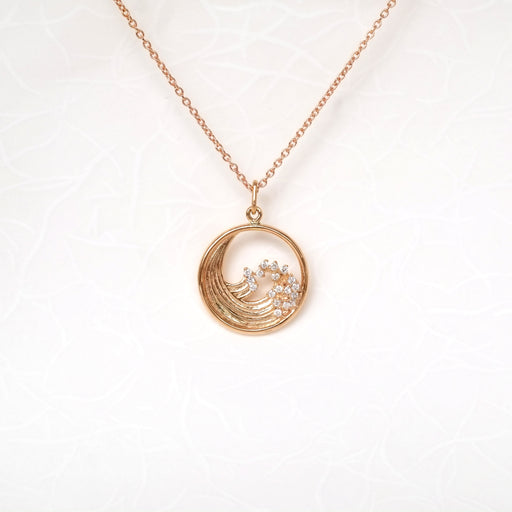 Summer Motif (Great Hokusai Wave) Diamond Necklace
