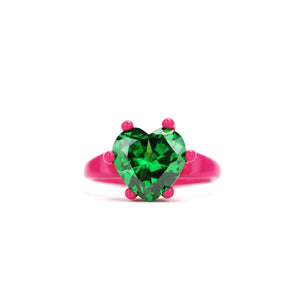 Fuchsia and green heart ring Funhouse Labs