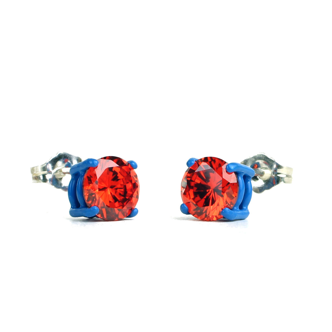 SALE - Orange 7mm Round Bling Earrings - Powder Coated