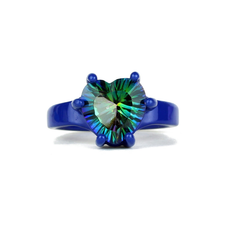 SALE - Mystic Bling - Deep Blue with Mystic Blue Quartz 10mm Heart Ring