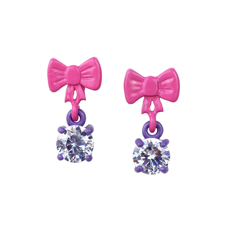 Pink Bow with Lavender Dangle Bling Earrings - Powder Coated