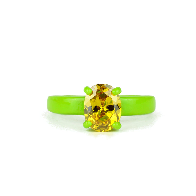 SALE - Lemon Lime Superhero Bling Ring - 9x7mm Oval - Powder Coated