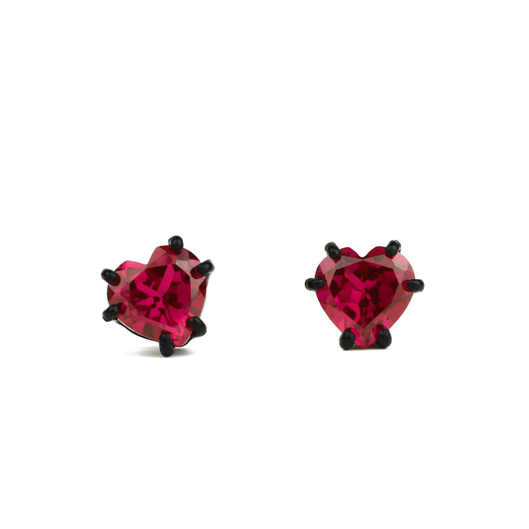 Bling Earrings with Matte Black Setting and 7 mm Lab Ruby Heart