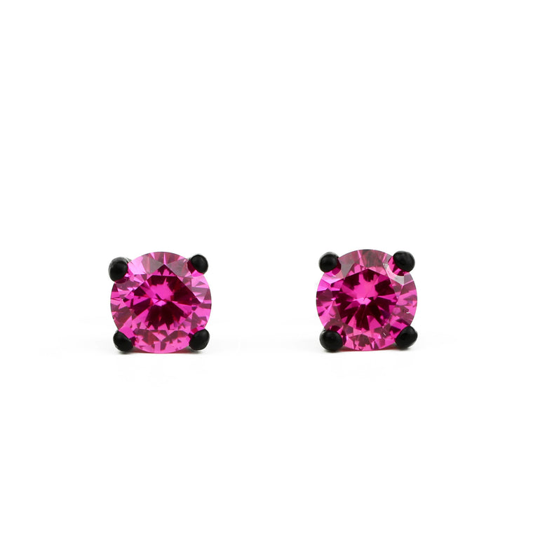 Bling Earrings with Matte Black Setting and 6 mm Lab Deep Pink Sapphire Rounds