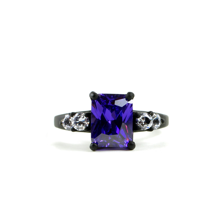 Matte Black Bling - 9 x 7mm Violet Octagon Stone Ring with Lavender Round Accent Stones