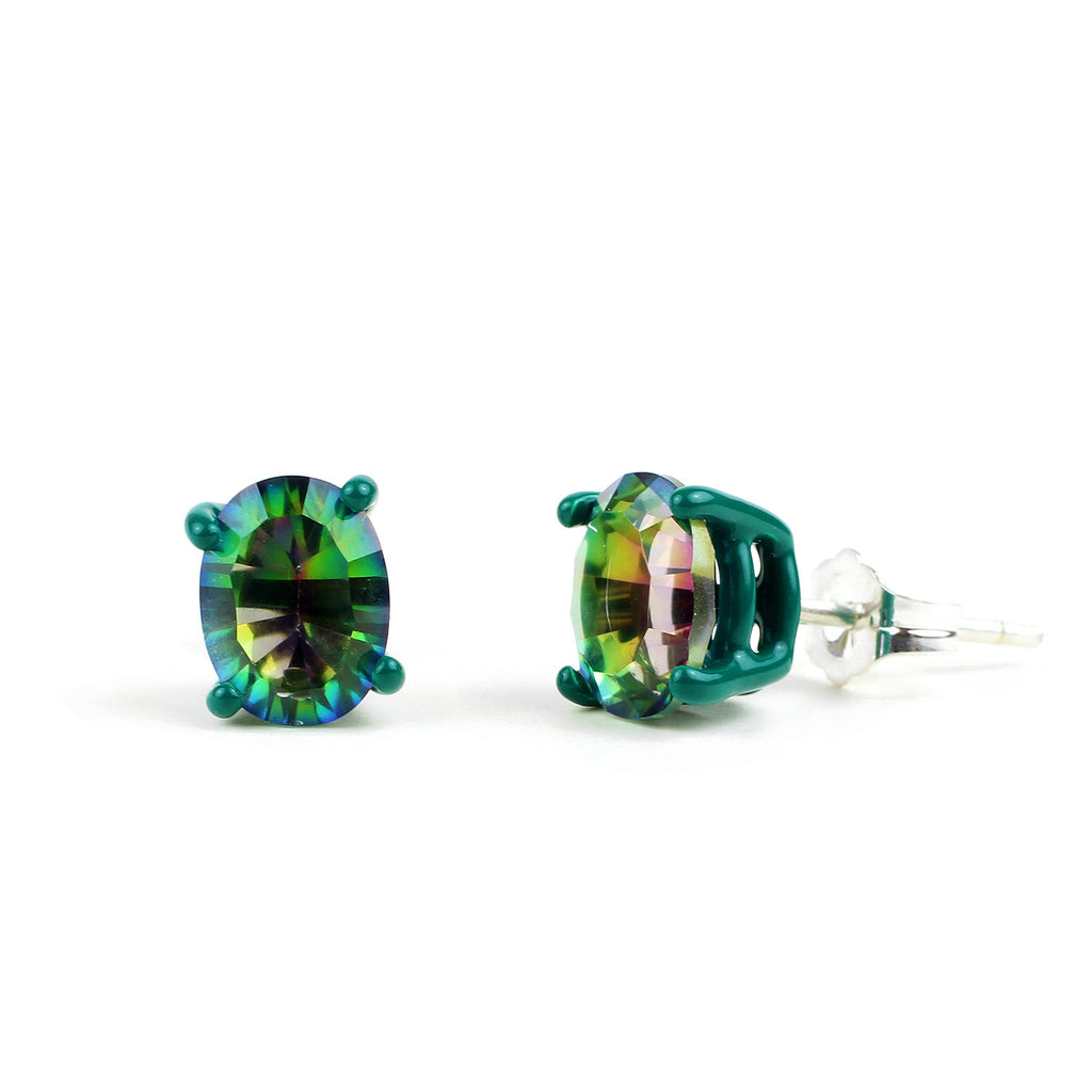 SALE - Mystic Bling - Hunter Green with Green Mystic Quartz 8 x 6mm Oval Bling Earrings