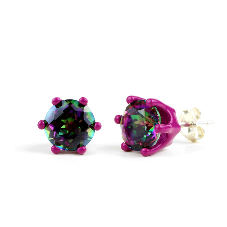 Mystic Bling - Plum Purple with Rainbow Mystic Quartz 8mm Round Bling Earrings