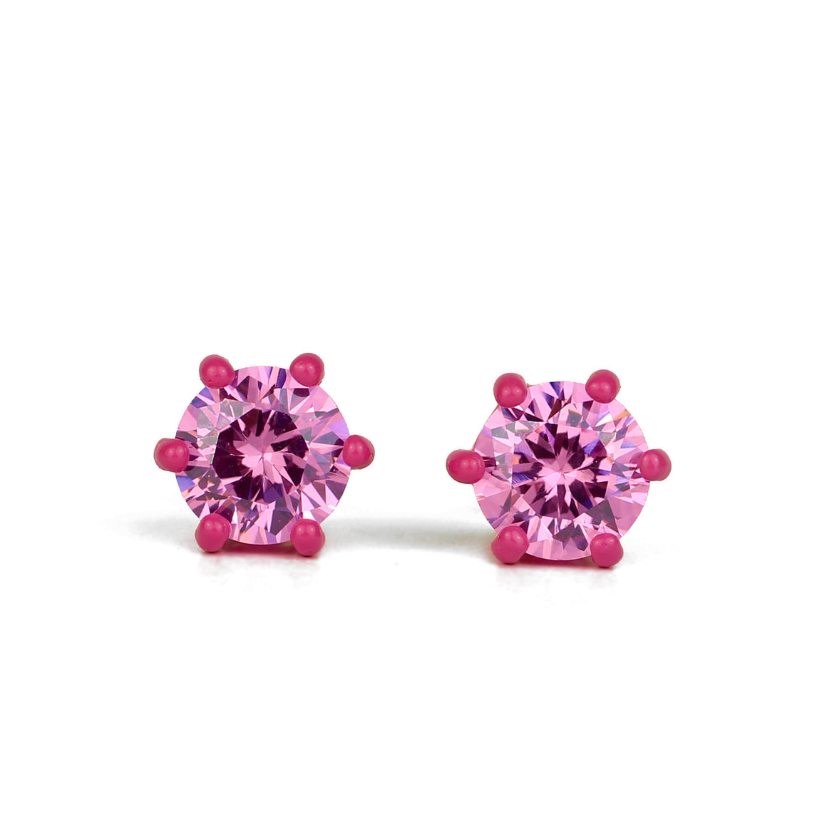 OMG Bling Earrings in Pink - 8 mm Round Stone