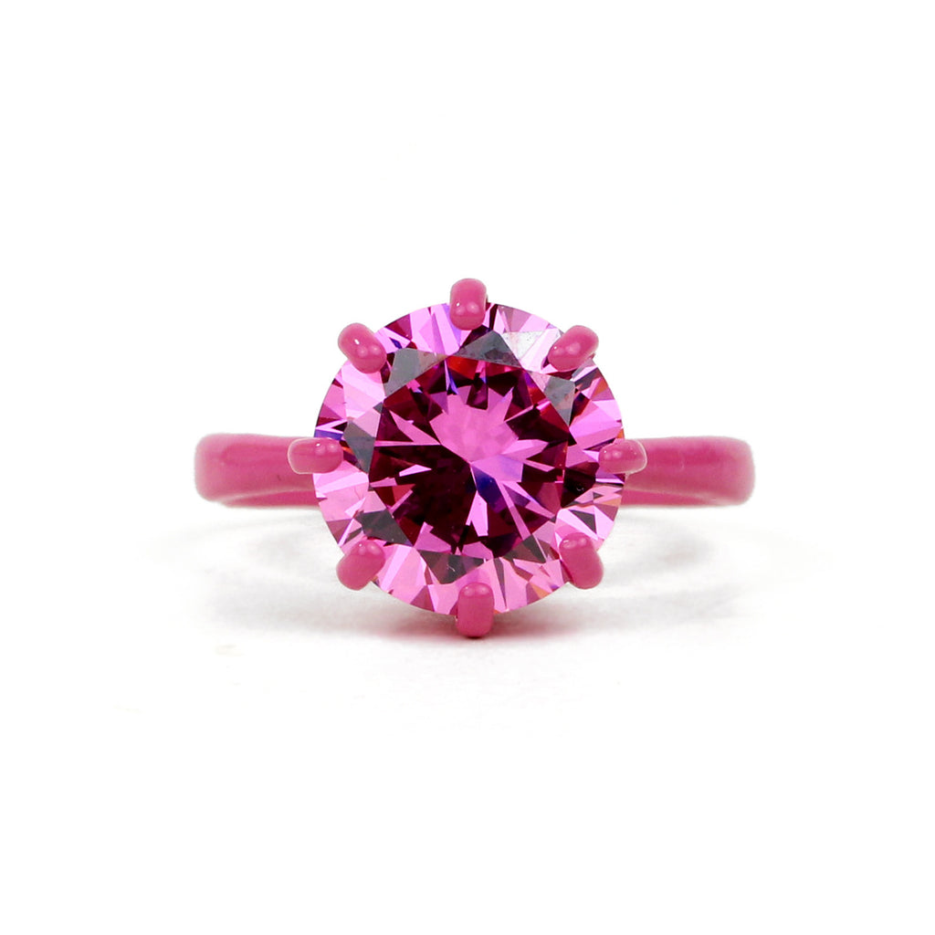 OMG Bling Ring in Pink - 12mm Round Stone, LARGER Finger Sizes