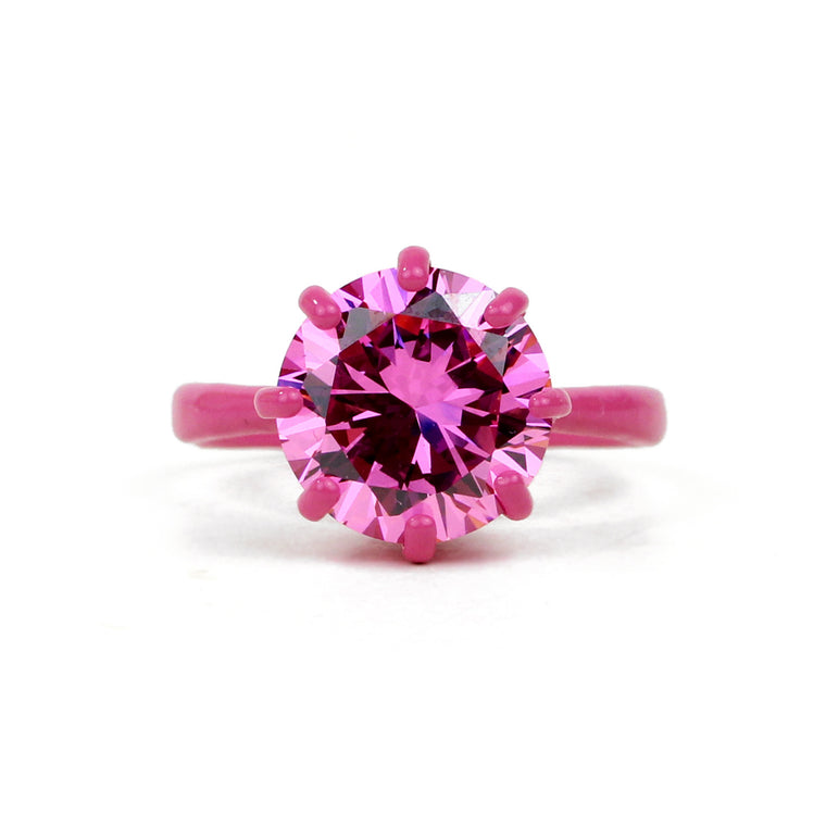 SALE - OMG Bling Ring in Pink - 12mm Round Stone, LARGER Finger Sizes
