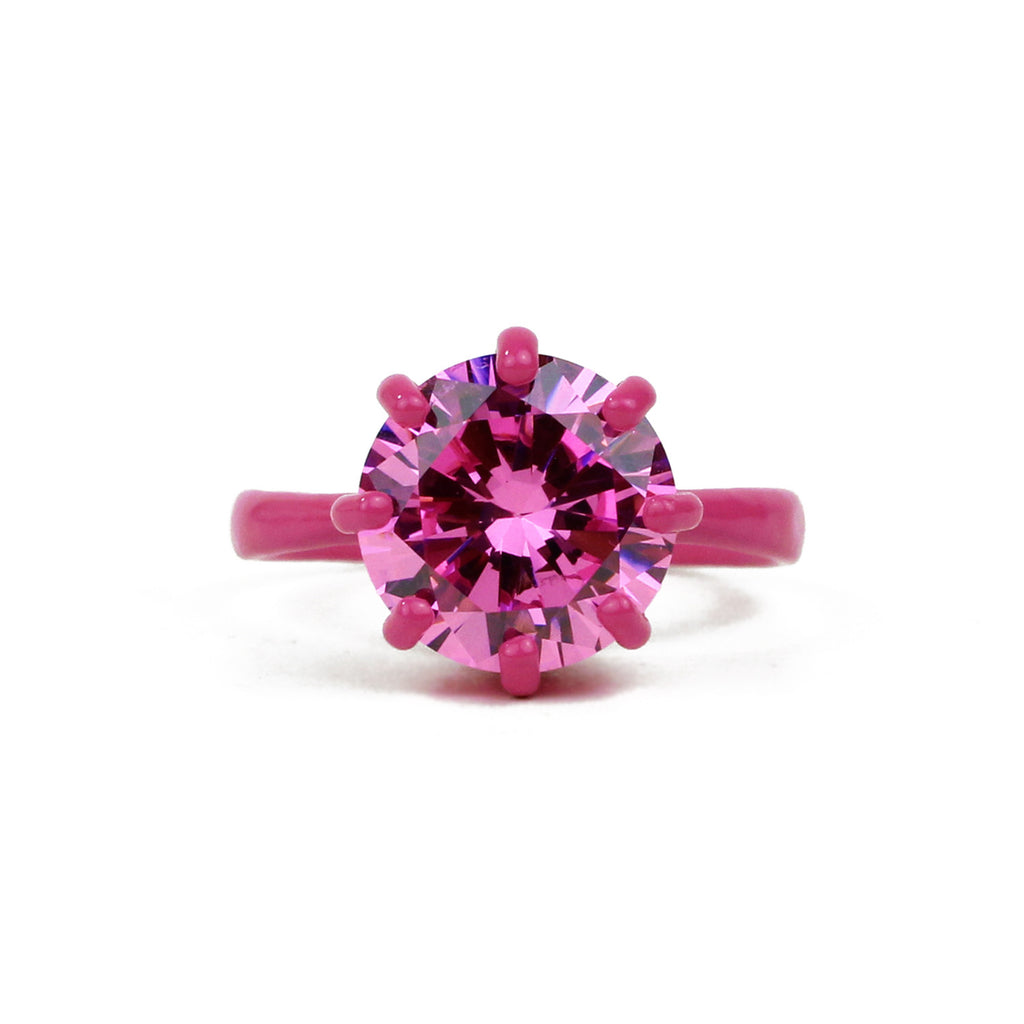 SALE - OMG Bling Ring in Pink - 11mm Round Stone - Sizes 6, 7, and 8