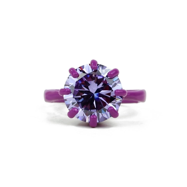 SALE - OMG Bling Ring in Purple - 11mm Round Stone - Sizes 6, 7, and 8