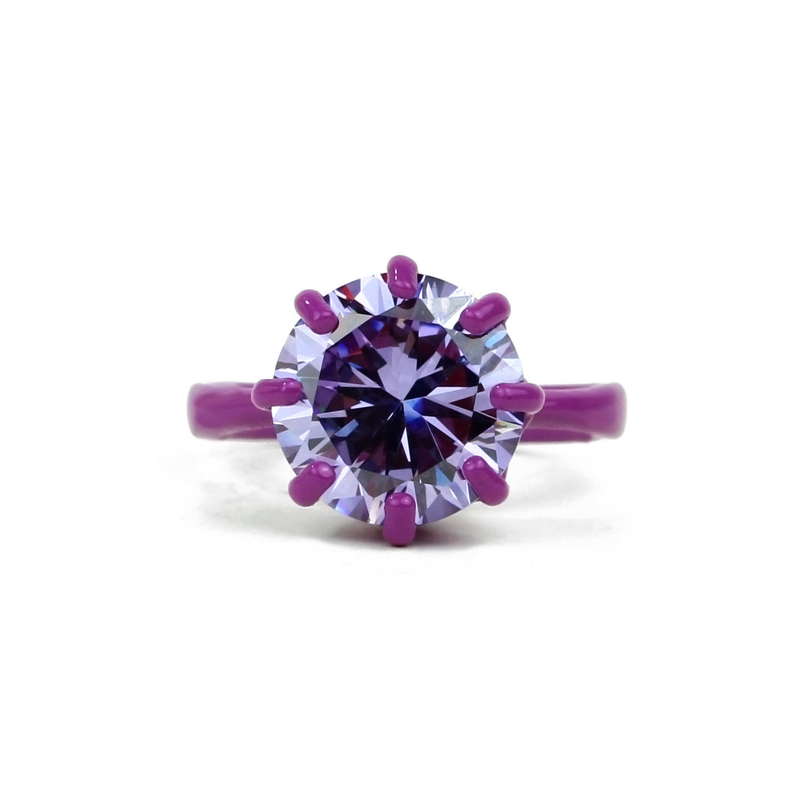OMG Bling Ring in Purple - 11mm Round Stone - Sizes 6, 7, and 8
