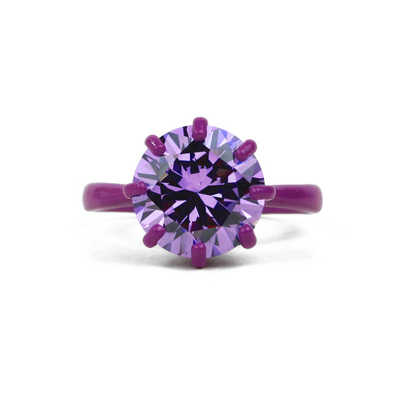 OMG Bling Ring in Purple - 12mm Round Stone, LARGER Finger Sizes