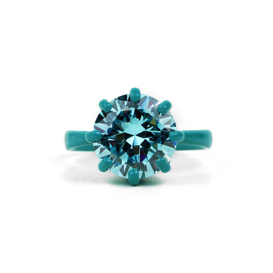 OMG Bling Ring in Teal - 11mm Round Stone - Sizes 6, 7, and 8